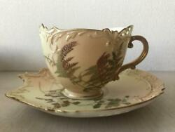 Antique Royal Worcester Art Nouveau Reticulated Cup And Saucer Enamel Gold Flower