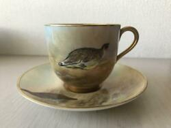 Vintage Royal Worcester Demitasse Cup And Saucer Red Grouse Bird Animal England