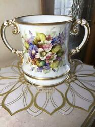 Antique 1885 Royal Worcester Double Handle Cup England R.n Martin Rare Retro