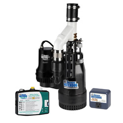 Battery Backup Sump Pump System 1/2 Hp Smart Wi-fi Capable Controller Monitor