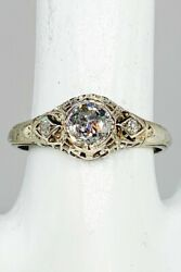 Antique 1920 Wr And Co 6000 1.14ct Mine Cut Diamond 18k White Gold Filigree Ring