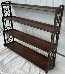 Antique Chippendale Mahogany Wood Graduated 4 Tier Whatnot Wall Shelf Curio