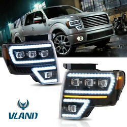 Set 2 Full Led Projector Turn Signal Headlights For 09-14 Ford F-150 Front Lamps