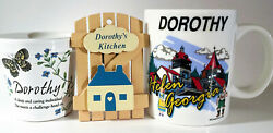 """Dorothy Ceramic Mug, Kitchen Magnet And Candle """"gift Of God"""" Personalized Lot Of 3"""