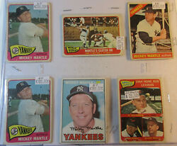 6 Mickey Mantle Cards 4 1965, 1 1966, 1 1967 New York Yankees 827aa