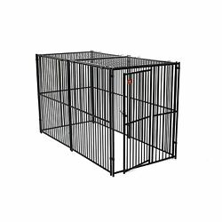 Lucky Dog European Style Kennel With Predator Top Black Large