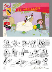 Peanuts Snoopy St Germain Limited Ed Of 68 Animation Cel N Print Signed Mlc23