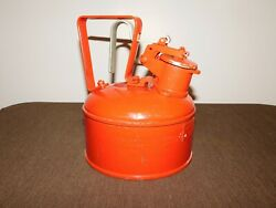 Vintage Car 8 3/4 High Usa Justrite Mfg Red 1/2 Gal Safety Oil Can