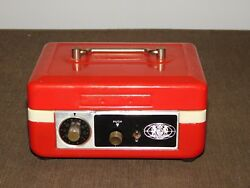 Vintage Cm Inc Chadwick Metal Combination Metal Coin Bank Box Missing Key And Comb