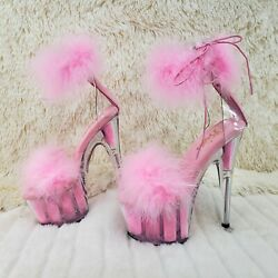 Adore 724 Baby Pink Marabou Platform Shoes Sandals 7 High Heel Shoes Ny