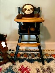 Vintage Hand Painted Wooden Baby Highchair High Chair With Removable Tray