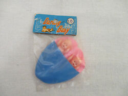 """Vintage 1960's """"darling Baby"""" Dime Store Mini Dolls 3 ½"""" Babes In Blanket"""