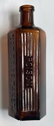 7 1/4 Inch Brown Amber Hexagonal Bottle Embossed Poison Not To Be Taken - Chip