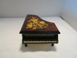 Italy Marquetry Inlaid Burl Piano Reuge Music Box Fur Elise Violin And Flowers 8w