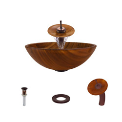Glass Vessel Sink In Wood Grain With Waterfall Faucet And Pop-up Drain In...