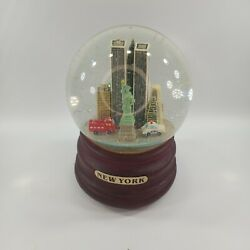 New York City Snow Globe W Twin Towers And Statue Of Liberty Play Music Vtg Rare