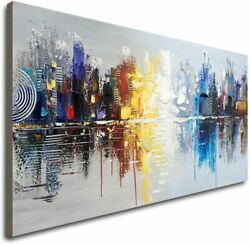 Hand Painted Cityscape Modern Oil Painting on Canvas Reflection Abstract Wall