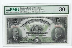 1911 Bank Of Montreal 5 Note Cat5055002 Sn 067935 Pmg 30 See Desc