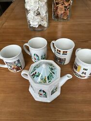 """English Life Teapots Wade England """"a Conservatory Teapot"""" With 4 Tea/coffee Cups"""