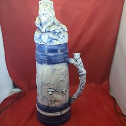 Vintage Holland Mold 18 German Beer Stein With Lid Blue Lions And Caribou Art