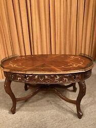 Vintage Ornate Wood Brass Trim Carved Skirt French Style Inlaid Coffee Table