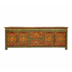 Chinese Tibetan Red Green Flower Graphic Low Tv Console Table Cs6958
