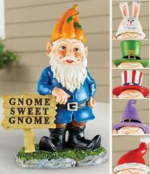 Traditional Garden Gnome Statue Yard Art W 6 Holiday Hats Garden Decoration 7-pc
