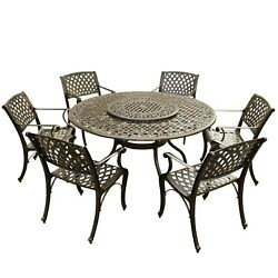 Outdoor Lattice 59 In. Round Dining Set With Lazy Susan And Bronze 7-piece Sets