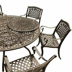Lattice 59 In. Bronze Round Dining Set With Lazy Susan And Bronze 7-piece Sets