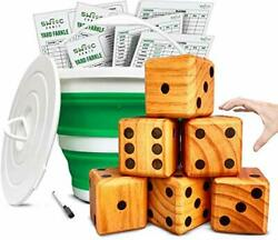 Yardzee, Farkle And 20+ Games - Giant Yard Dice Set All Weather With Collapsible