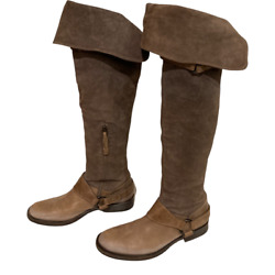Brunello Cucinelli Brown Taupe Gray Leather Harness Over The Knee Riding Boots
