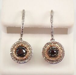 White And Rose Gold Black Diamond Double Halo Drop Dangle Earrings Must See