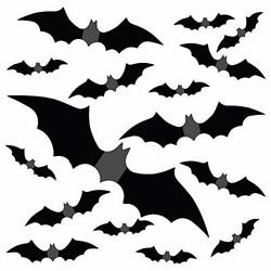 Large Halloween 3D Bats Removable Decals Scary Bats Wall Decal Sticker for 56