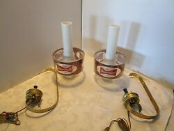 Budweiser Beer Set 2 Sconce Wall Hurricane Lamps Bow Tie Bar Advertising Retro
