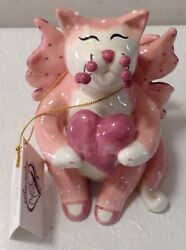 Amy Lacombe Whimsiclay Pink Porcelain Angel Cat And Roses Figurine 2002 Annaco