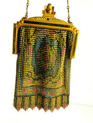 Antique 20s 30s Whiting And Davis Mesh Enamel Beaded Flapper Purse Deco Nice