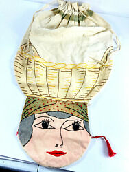 Neat Vintage Flapper Girl Woman Clothespin Embroidered Laundry Bag Folk Art