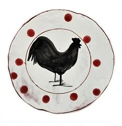 Black Rooster And Red Round 7.25 Plate Hand Made Redware Pottery New Americana
