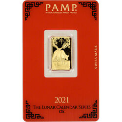 5 Gram Gold Bar - Pamp Suisse - Lunar Year Of The Ox - 999.9 Fine In Assay
