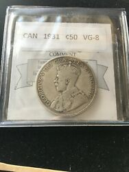 1931 Coin Mart Graded Canadian Andcent50 Cent Vg-8