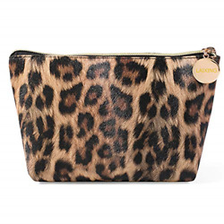 Makeup Bag Travel Cosmetic Bag for Purse Small Bag Leopard Cute Pouch Gift for $10.30