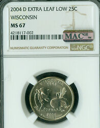 2004-d Wisconsin State Quarter Extra Leaf Low Ngc Ms-67 Pq Mac Spotless