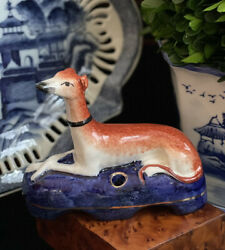 Gorgeous Rare English Staffordshire Whippet Hunt Ink Well Mantle Dog Cobalt Base