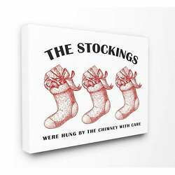 Christmas Stockings Vintage Icons Stretched Canvas Wall Art Oversized