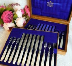Mappin & Webb Cutlery Set With Box Mother Of Pearl Knife Fork Relief Antique