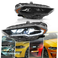 Led Drl Projector Headlight +upgraded Amber For 2018-2021 Ford Mustang Rh And Lh
