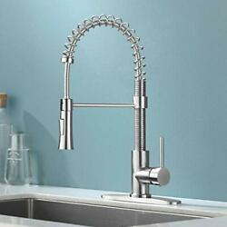 Kingo Home Farmhouse Brushed Nickel Stainless Steel Kitchen Faucet With Pull Dow