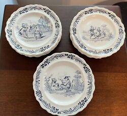 French Antique Decorative Collectible Talking/singing Dessert Plates