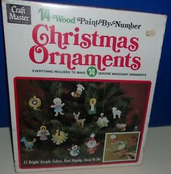 Vintage Nib Craft Master 14 Wood Paint By Number Christmas Ornaments