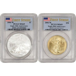2006 W Us American Eagle 20th Ann Gold And Silver Burnished 2-coin Set Pcgs Ms69